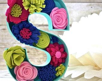 Custom Felt Flower Letter Monogram - Gifts - You pick letter/colors/size