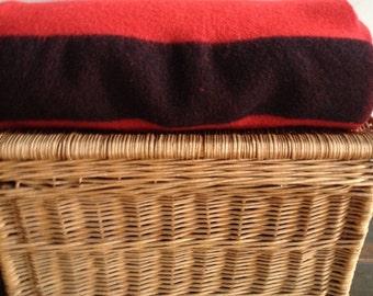 Vintage Red Wool and black striped camp blanket