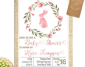 Pink Bunny Baby Shower invitation - twins or single baby girl watercolor - TK_A051_single