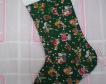 Christmas stocking in green vintage cotton print