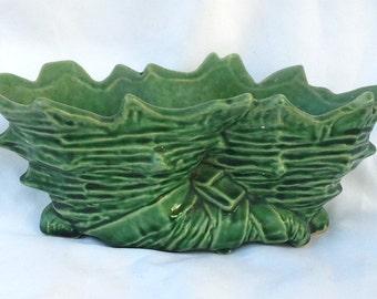 McCoy Double Cornucopia Planter Green Signed in Glaze