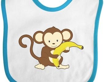 Monkey with Banana Baby Bib by Inktastic
