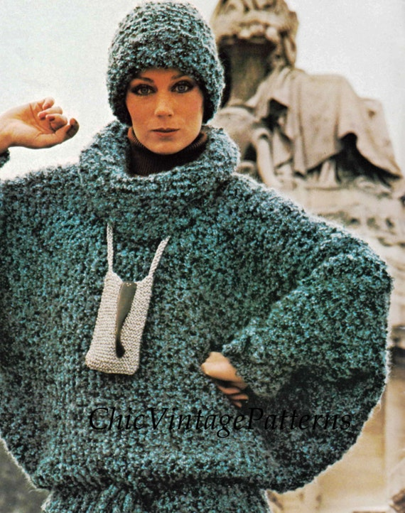 Knitted Sweater and Hat ... Ladies Batwing Sleeve Jumper ... Casual Elegance,...