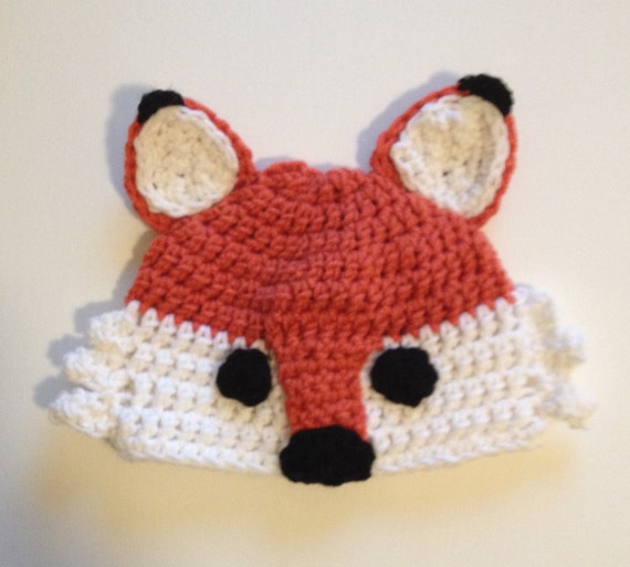 Crochet Fox Hat : Fox hat, crochet fox hat, made to order, baby hat to adult fox hat ...