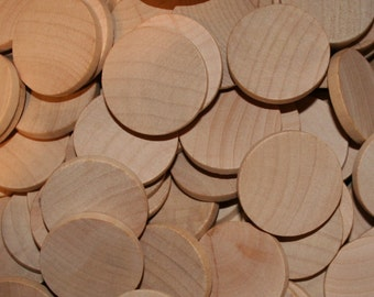 """Natural Unfinished Wood Circle Discs 1-1/2"""" x 3/16"""""""