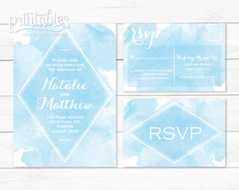 Watercolor Wedding Invitation with RSVP Postcard - Light Blue Wedding Invitation Set - Modern Wedding Invites - DIY Wedding Invitation Suite