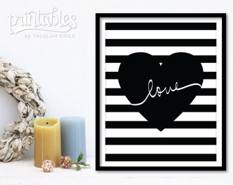 Love Art - Printable Love Sign - Stripes Home Decor Modern - Black and White Typography Print - Love Poster - Instant Download Love Wall Art