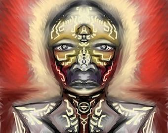Butterfly Warrior~ Original digital Chicano art painting ~