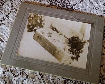 Antique post mortem little baby in a casket mourning