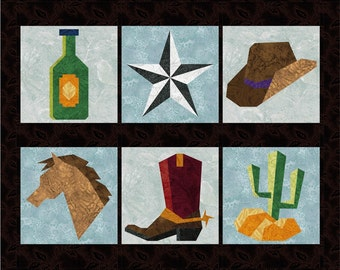 Western Cowboys - 6 Quilt Block Patterns - Foundation Paper Piece Patch - PDF Download