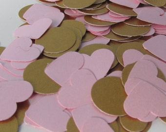 500 Pink and Gold Confetti - Wedding - Baby shower - Birthday - Table decoration - Confetti -