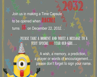 Minion Chalkboard Time Capsule Sign for a First Birthday