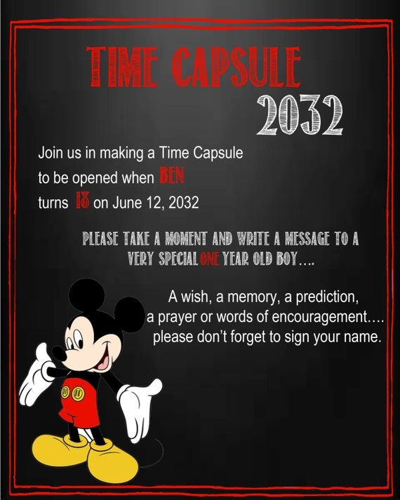 Mickey Mouse Time Capsule Sign for a First Birthday