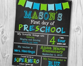 First Day of Preschool Sign - First Day of Kindergarten Chalkboard Sign - Chalkboard Sing