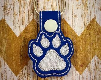 Wildcat keychain, wildcat key fob, paw key chain, royal blue and white paw key chain