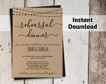 Rehearsal Dinner Invitation Printable Template - Rustic String Lights & Calligraphy on Kraft Paper | DIY Instant Download PDF Digital File