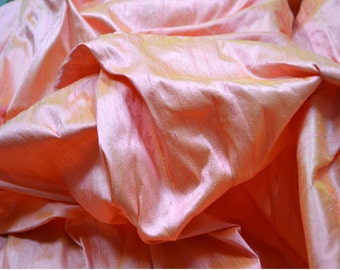 Iridescent dupioni silk fabric by Yard Peach Gold dupion silk fabric for wedding bridesmaid prom dresses indian raw silk indian dupioni silk