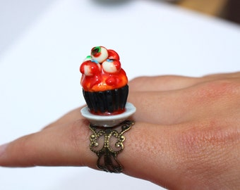 halloween cupcake ring halloween ring eyeball ring horror ring goth ring fancy dress ring creepy ring gothic jewellery halloween accessory