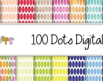 100 Dots digital Papers