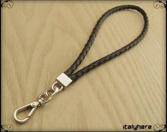 Wrist strap, real black leather, 21 Cm.