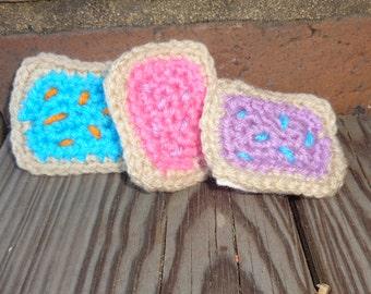 Crocheted pop tart pins