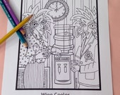 Wine Cooler - Adult Coloring Page to Print