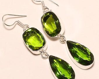 Peridot Gemstone Earrings in 925 Silver, Peridot Birthstone Earrings, Peridot Earrings, August Birthstone, Peridot Jewelry, Green Earrings