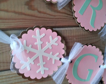 Winter Onederland Banner - winter party - snowflake banner - party supplies - 1st birthday - pink and gold