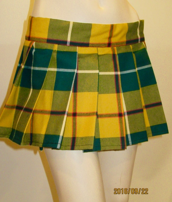 Yellow Green Plaid Pleated mini Skirts Halloween Plaid Skirts