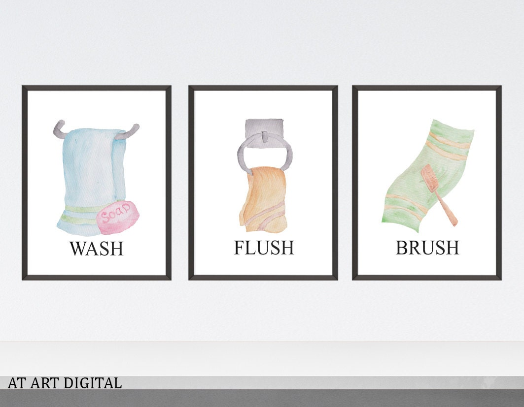 Brush Design For Wall : Kids bathroom prints wash brush flush wall decor
