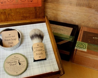 Goats Milk Shave Gift Set with Badger Brush, Stainless Steel Dish & Goats Milk Shave Soap
