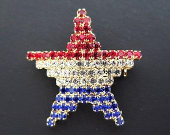 Vintage Star Pin Red White Blue Rhinestones Gold Metal