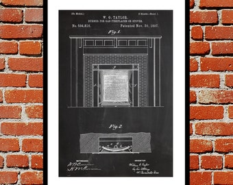 Gas Fireplace Patent, Fireplace Poster, Fireplace Blueprint,  Fireplace Print, Fireplace Art, Fireplace Decor sp362