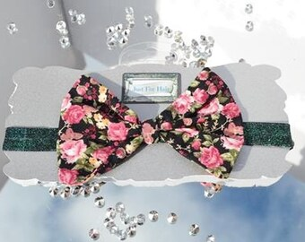 Black baby headband on glitter elastic ~ boutique baby bow ~ oversized floral bow ~ photo prop for baby ~ baby shower gift