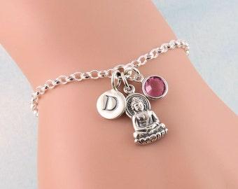 Buddha Bracelet, Sterling Silver Buddhism Bracelet, Buddhist Jewelry, Personalized Bracelet, Religion Jewelry, Monk Bracelet, Buddhist Monk