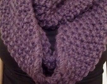Handmade Large Chunky Knit Purple Cowl