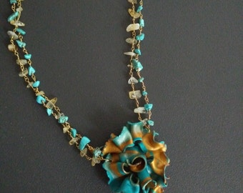 """Turquoise Flower necklace citrine necklace lariat flowers turquoise citrine collection """"Spring"""""""