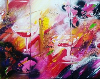 Abstract triptych - decorative 3x20cm / 40cm