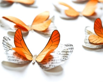 Orange paper butterflies, fall party, autumn wedding, summer wedding decorations, rustic wedding table