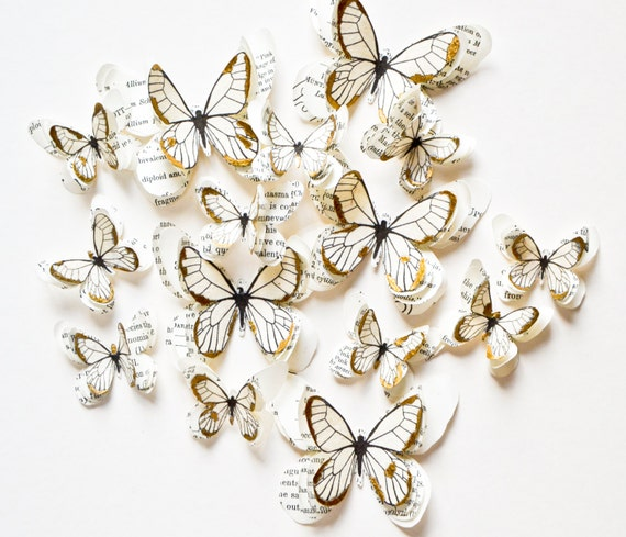 White and gold paper butterflies 3d wall decoration by lppsb for White paper butterflies