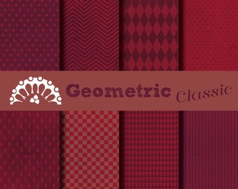 Paper digital geometric classic red