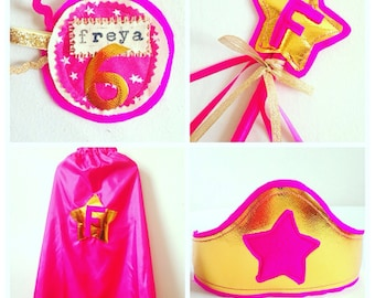 Girls Superhero Costume DELUXE, Complete Superhero Birthday Costume, Girls Superhero Party, Robins Bobbins. Lined cape, wand, crown + badge