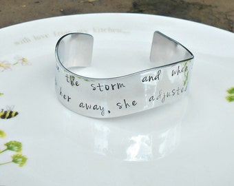 She stood in the storm, Elizabeth Edwards Quote  Bracelet, HandStamped Cuff,  Inspirational Quote Bracelet, Literary Quote, Book Lover Gift.
