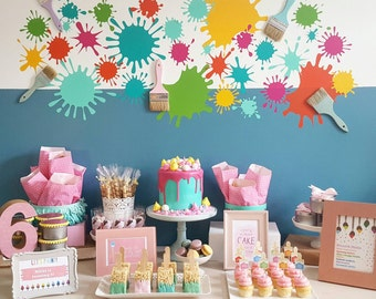 Art painting kids party dessert table backdrop splash Removable vinyl and paintbrush drip paint cupcake cake birthday