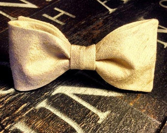Gold Silk Bow Tie, Gold Bow Tie,  Light Gold Bow Tie, Matching Gold Pocket Square Included