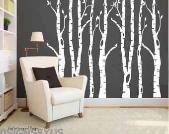 Custom vinyl birch trees