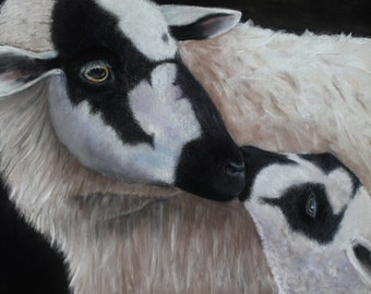 Precious, ewe and lamb  print from an original pastel painting. Giclee printed on Hahnemuhler fine art paper, signed