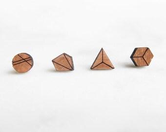 Shape Stud Earrings - cherry