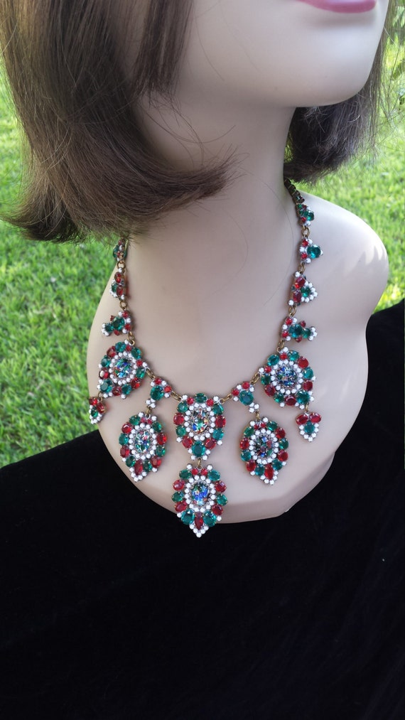 Vintage jeweled Lilien signed elaborate tiered necklace