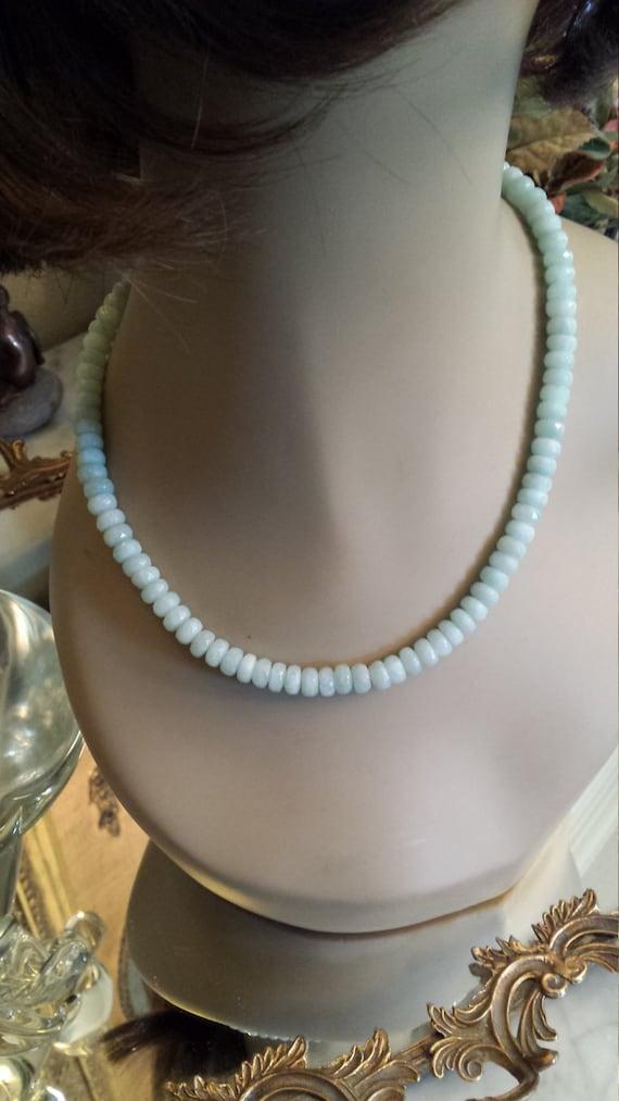 One strand natural amazonite (Peru) necklace